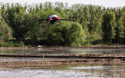 XAG Drone JetSeed Module Conducts Direct Seeding on Rice Paddy