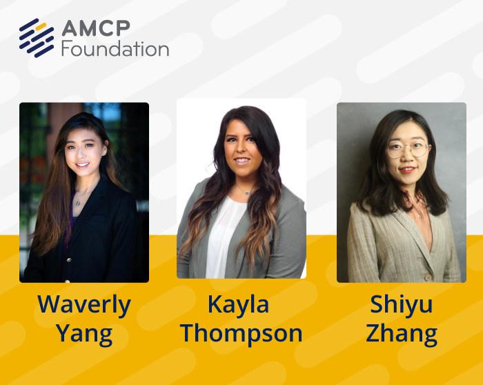 Winners of AMCP Foundation 2020 Best Poster Awards, from left, Waverly Yang, Kayla Thompson, and Shiyu Zhang.