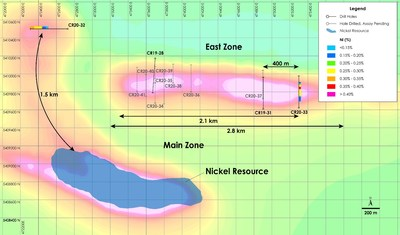 Figure 1a – Plan View of East Zone Nickel - Drilling Results overlain on total field magnetic intensity, Crawford Nickel-Cobalt Sulphide Project, Ontario. (CNW Group/Canada Nickel Company Inc.)