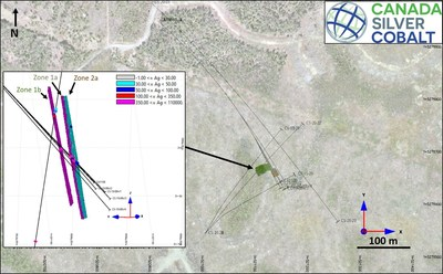 Figure 1: The location of the mineralized envelopes. (CNW Group/Canada Silver Cobalt Works Inc.)