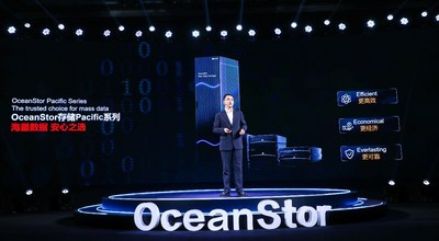 Peter Zhou, President of Huawei Data Storage and Intelligent Vision Product Line, releasing the next-generation OceanStor Pacific Series