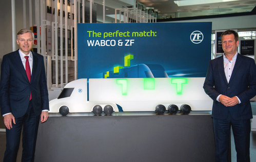ZF Friedrichshafen completes the acquisition of WABCO, merging it into ZF as its Commercial Vehicle Control Systems Division.  Wolf-Henning Scheider, (left) CEO of ZF Friedrichshafen AG, and Fredrik Staedtler, who will lead the Commercial Vehicle Control Systems division.