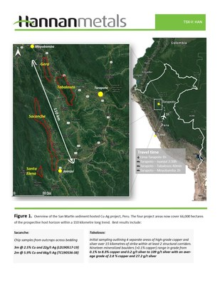 Figure 1. Overview of the San Martin sediment-hosted Cu-Ag project, Peru. The four project areas now cover 66,000 hectares of the prospective host horizon within a 110 kilometre long trend. (CNW Group/Hannan Metals Ltd.)