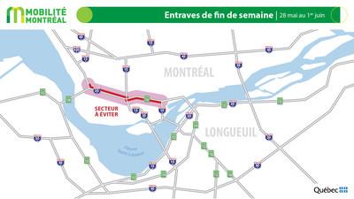 Carte générale des entraves, période du jeudi 28 mai au lundi 1er juin (Groupe CNW/Ministère des Transports)