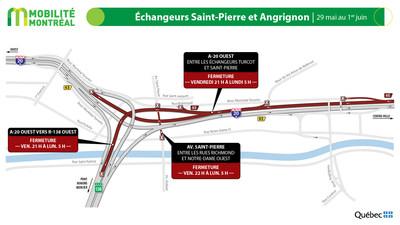 A20 ouest entre les échangeur Turcot et Saint-Pierre, fin de semaine du 29 mai (Groupe CNW/Ministère des Transports)