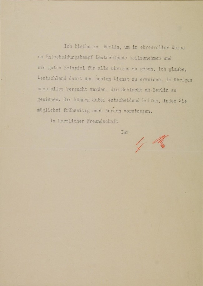 """Adolf Hitler's last signed military message, sent to a top general who begged him to flee Berlin. The doomed dictator writes: """"I shall remain in Berlin so as to take part in honorable fashion in the decisive battle for Germany and to set a good example to all those remaining. I believe that in this way I shall be rendering Germany the best service..."""" Six days later, Hitler committed suicide with a pistol shot to his head. Letter being auctioned June 9 by Alexander Historical Auctions."""