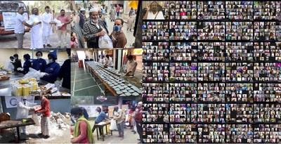 Left - Distribution of relief material ; Right - Gurudev Sri Sri Ravishankar interacting with people across the globe.