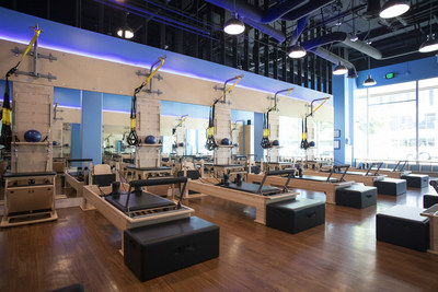 """Club Pilates reformers are 6'3"""" apart, giving members the opportunity to physically distance while taking classes. (PRNewsfoto/Club Pilates)"""