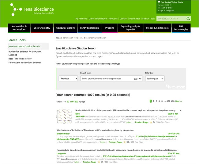 Bioz Search Badge Implemented on the Jena Bioscience Website