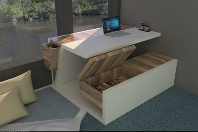 The Origami desk by Alexandra Clement, a student at Cegep Saint-Jean-sur-Richelieu, is the winner of Formica Corporation's 2020 FORM Student Innovation Competition.