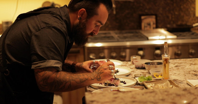 Chef Austin Preparing a Wine Dinner