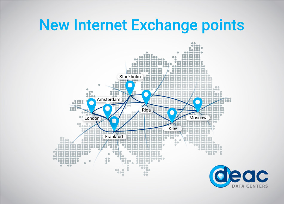 Data centers' provider DEAC has launched new Internet Exchange (IX) points in all its data centers' locations by opening reliable and fast network gate between Baltic States, Europe and Russia. (PRNewsfoto/DEAC)