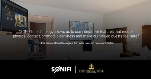 The Florida Hotel & Convention Center worked with SONIFI to create custom interactive TV experiences that meet specific needs of their business guests and conference attendees. Integrations on the new platform also allow guests to use it to order in-room dining, make housekeeping requests and check out from the room, reducing in-person contact. Guests can also stream their favorite content subscription, games, and productivity apps to the in-room TV with STAYCAST.