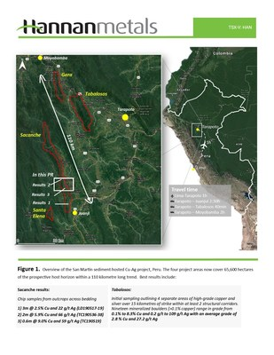 Figure 1: Overview of the San Martin sediment-hosted Cu-Ag project, Peru. (CNW Group/Hannan Metals Ltd.)