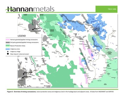 Figure 6: Overview of mining concessions, nature protection areas and indigenous land in the Huallaga basin and adjacent areas. (CNW Group/Hannan Metals Ltd.)