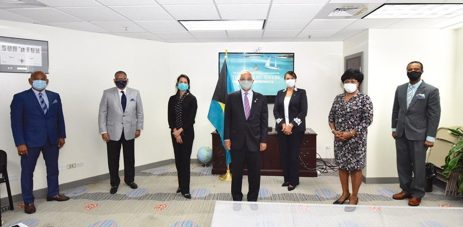 From Left: Carlton Russell, President of Bahamas Hotel & Tourism Association; Robert Sandy Sands, SVP at Baha Mar Resort; Suzanne Pattush, Executive Vice President Bahamas Hotel & Tourism Association; The Hon Dionisio D'Aguilar, MP, Minister of Tourism & Aviation; Joy Jibrilu, Director-General of The Ministry of Tourism; Vernice Walkine, CEO, Nassau Airport Development Company & Stuart Bowe, SVP & General Manager of Hotel Operations at Atlantis.