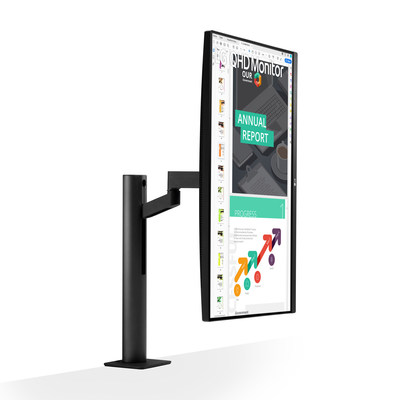 The LG 27-inch QHD IPS Display elevates productivity with a flexible ergonomic stand complete with C-Clamp for full movement of display, allowing users to raise, lower, swivel, tilt and pivot to adapt to their environment.
