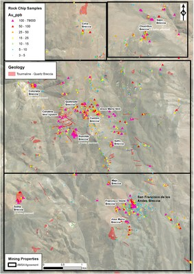 Figure 2: Geological map illustrating breccia pipe occurrences with rock chip gold results (ppb). Drilling will focus on extending mineralisation at the San Francisco de Los Andes breccia (SFdLA) as well as testing the Chorrillos, Colorada, Humilde and Solita breccia pipes. The best surface geochemical results returned to date are from the Humilde breccia (i.e. 79 g/t gold, 385 g/t silver and 7.7 % copper), with grades even higher than those found at the surface of the SFdLA breccia pipe. (CNW Group/Turmalina Metals Corp.)