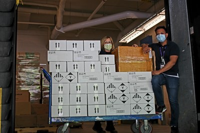 Grasshopper Energy donated 2000 surgical masks and 38 large cases of sanitizer to Mackenzie Health. (CNW Group/Grasshopper Energy)