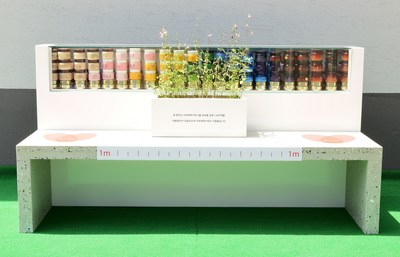 Amorepacific makes upcycled bench made from empty cosmetic bottles in celebration of World Environment Day