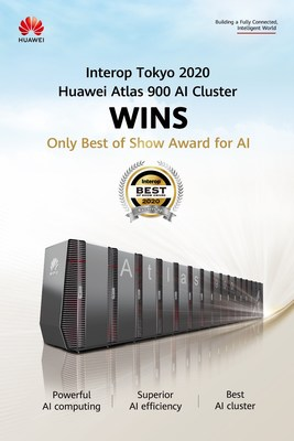 Atlas 900 da Huawei recebe o único Best of Show Award para IA da Interop Tokyo 2020 (PRNewsfoto/Huawei)