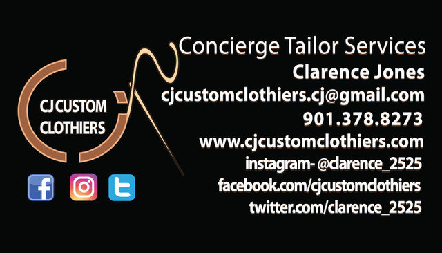 Back of CJ Custom Clothiers business card