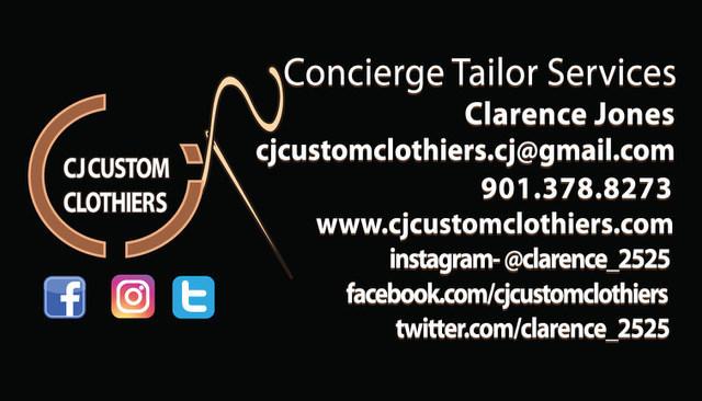 Back of CJ Custom Clothiers business card
