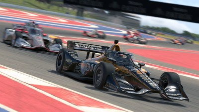 The No. 5 Arrow McLaren SP entry navigating Circuit of The Americas during the INDYCAR iRacing Challenge on April 25th.