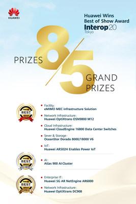 A Huawei ganha oito prêmios, incluindo cinco Grandes Prêmios, na Interop Tokyo 2020 (PRNewsfoto/Huawei)