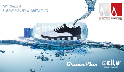 The patented GreenPlax(R) technology brings the feasibilities of building up every major component (upper, insole, and outsole) of the footwear with ocean plastics, it was just honored by A'Design Award & Competition in footwear category of the year 2020. Embodying the brand's visions of sustainability and circular economy, through the development of the recycling/upcycling ecosystem for footwear industry.