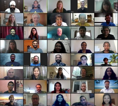 The MPOWER team on their weekly townhall Zoom call from their homes spread around the world