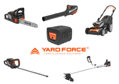 YARD FORCE 60V Series products which contains new designed battery, lawn mower, grass trimmer, brush cutter, hedge trimmer, chain saw and blower.