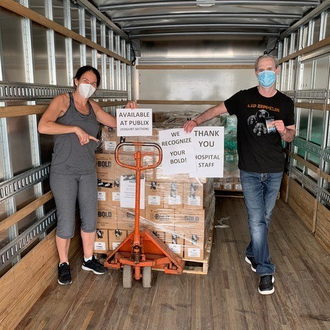 Pictured here, Stacy and Dave loading the 38,500 energy bars that were donated to Memorial Hospital in Hollywood, FL, Jackson Memorial Hospital in Miami and the Lakeland Regional Health Medical Center to fuel their front-line workers. This brings the donated total of bars to 50,000 along the East Coast