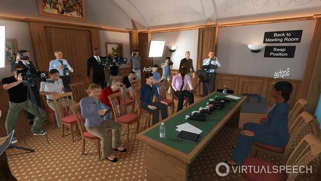 In-app screenshot of one of the VR training rooms available in the VirtualSpeech app.