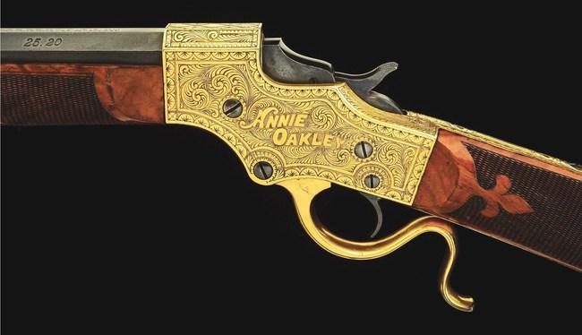 Annie Oakley's (1860-1926) custom-made 'Little Miss Sure Shot' Stevens Model 44 .25-20 single-shot rifle. Sold for $528,900 against an estimate of $200,000-$400,000
