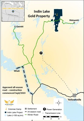 Indin Lake Gold Property Location and Infrastructure (CNW Group/Nighthawk Gold Corp.)