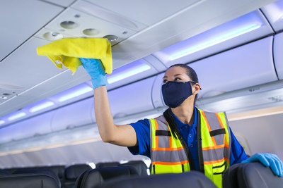 Alaska Airlines exceeds CDC cleaning guidelines, using high-grade, EPA-certified disinfectant to clean critical areas throughout the plane.