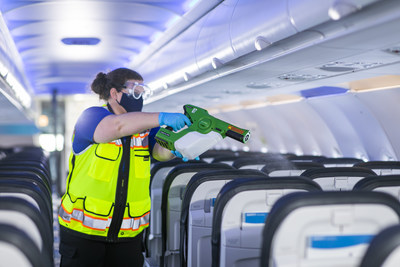 In addition to traditional cleaning with high-level disinfectant, planes are sanitized with electrostatic sprayers that disinfect surfaces throughout the cabin. The sprayer wraps disinfectant around and clings to curved and cornered surfaces for an additional level of protection.
