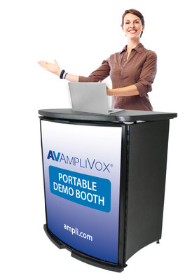 The AmpliVox Portable Demo Booth is a simple yet powerful way to promote products and services and enhance company image.