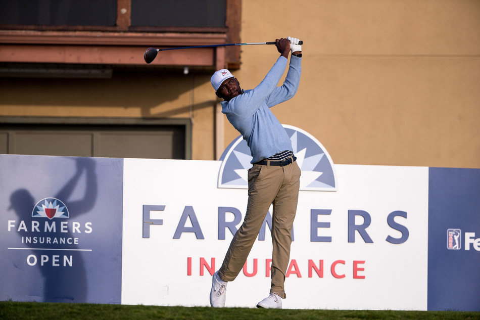 Kamaiu Johnson at the 2020 Farmers Insurance Open in January.