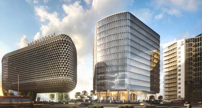A render of the new SAHMRI 2 building, which will sit between the SAHMRI's existing building (left) and the University of Adelaide's Health and Medical building on North Terrace