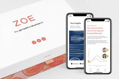 The ZOE app and insights report (PRNewsfoto/ZOE Health)