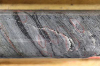 Figure 4: Image of high-grade gold mineralization from BR-137 (18.5 ounces per tonne over 1.00 metre). Gold occurs parallel to the dominant deformation fabric of the LP Fault zone (northwest striking, steeply northeast dipping). The rock is highly altered and deformed and all primary textures have been obliterated. Images are of selected core intervals and are not representative of all mineralization on the property. (CNW Group/Great Bear Resources Ltd.)
