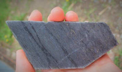 Figure 5: Image of cut drill core from BR-137 showing disseminated gold. (CNW Group/Great Bear Resources Ltd.)