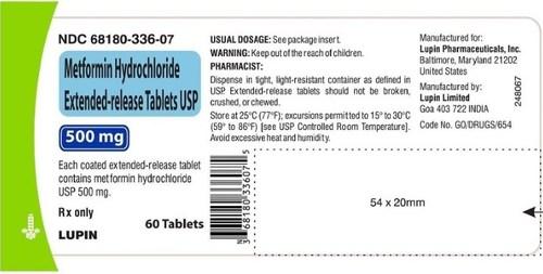 Product label-Metformin Hydrochloride ER Tabs USP 500 mg - NDC 68180-336-07
