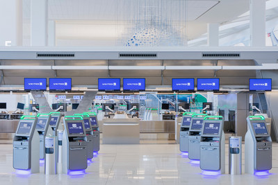 The new United Airline ticket counter in the Arrivals and Departures Hall at Terminal B at LaGuardia Airport opening on June 13, 2020.