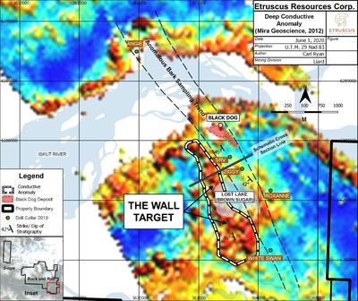 Plan View Map of Deep Conductive Anomaly - The Wall Target (CNW Group/Etruscus Resources Corp.)