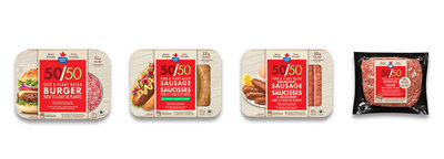 The Maple Leaf 50/50™ product range includes (L-R): Maple Leaf 50/50™ Burger, Maple Leaf 50/50™ Dinner Sausages, Maple Leaf 50/50™ Breakfast Sausages and Maple Leaf 50/50™ Grounds. (CNW Group/Maple Leaf Foods Inc.)