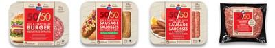 La gamme de produits Maple Leaf 50/50MC comprend les produits suivants (de gauche à droite) : Burger Maple Leaf 50/50MC, Saucisses Maple Leaf 50/50MC, Saucisses à déjeuner Maple Leaf 50/50MC et Haché de bœuf Maple Leaf 50/50MC. (Groupe CNW/Les Aliments Maple Leaf Inc.)