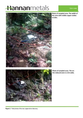 Figure 3. Field photos of the new copper-silver discovery. (CNW Group/Hannan Metals Ltd.)